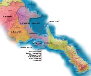 Карта Афона и список отелей у города Урануполис