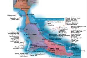 Карта отелей на пальце Кассандра п-ова Халдикиди